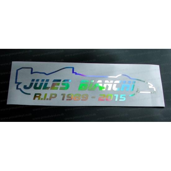 Jules Bianchi RIP Memorial Tribute Silver Hologram Neo Mirror Chrome Car Window Bumper Sticker Decal ref:1