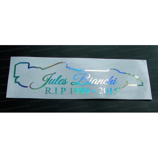Jules Bianchi RIP Memorial Tribute Silver Hologram Neo Mirror Chrome Car Window Bumper Sticker Decal ref:4