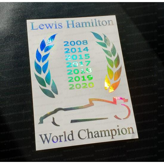 Lewis Hamilton F1 Laurel Wreath 2020 7 Times World Champion Silver Hologram Neo Chrome Car Window Bumper Sticker Decal