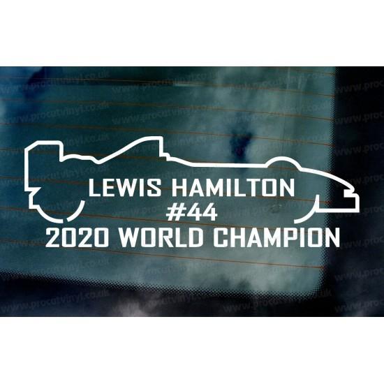 Lewis Hamilton #44 2020 World Champion Car Window Bumper Sticker Decal