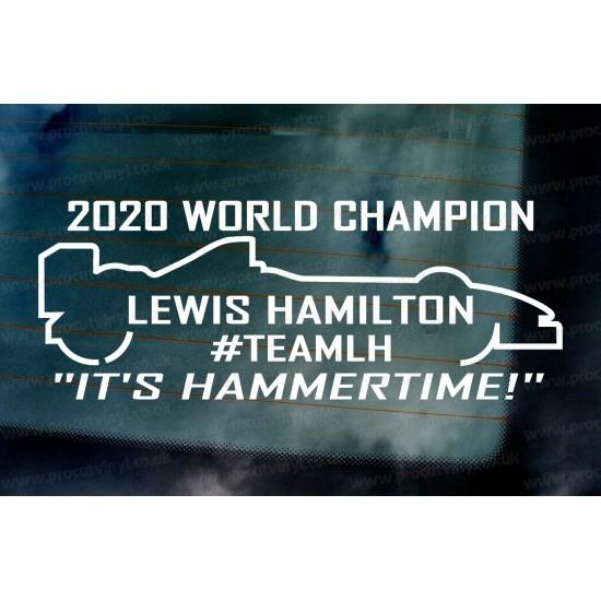 "Lewis Hamilton ""HAMMERTIME"" #TEAM LH 2020 World Champion Car Window Bumper Sticker Decal"