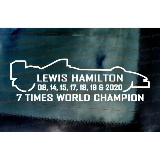 Lewis Hamilton 2020 7 Times World Champion Car Window Bumper Sticker Decal