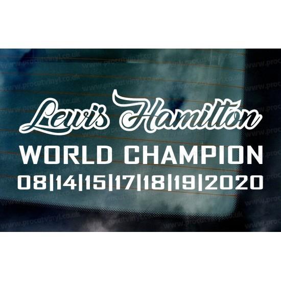 Lewis Hamilton 2020 7 Times World Champion Car Window Bumper Sticker Decal d2