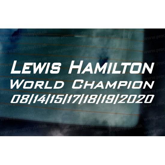 Lewis Hamilton 2020 7 Times World Champion Car Window Bumper Sticker Decal d1