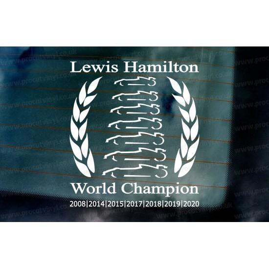 Lewis Hamilton F1 Laurel Wreath 2020 7 Times World Champion Car Window Bumper Sticker Decal