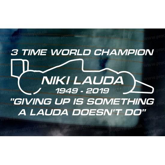 Niki Lauda RIP Memorial Fan Tribute Formula 1 F1 Legend 3 Time World Champion ref:2 Car Window Bumper Sticker Decal Graphic