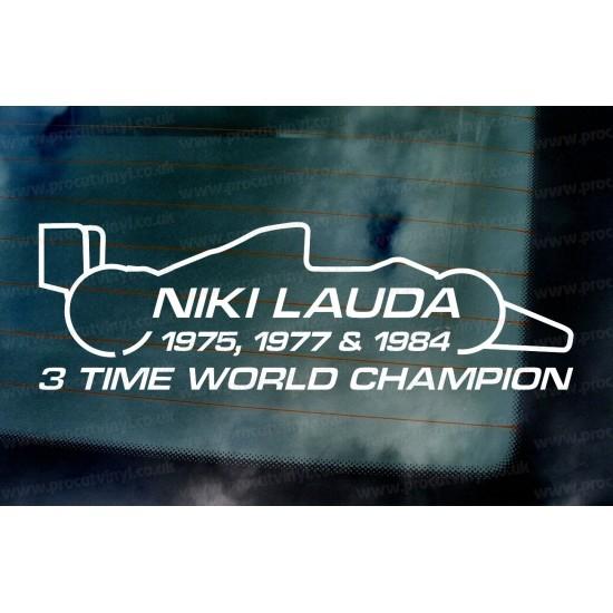 Niki Lauda RIP Memorial Fan Tribute Formula 1 F1 Legend 3 Time World Champion ref:4 Car Window Bumper Sticker Decal Graphic