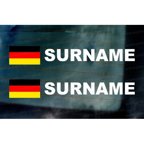 Rally Tag Surname Name Stickers Decals German Germany Flags