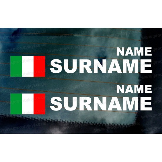 Rally Tag Surname Name Stickers Decals Italian Italy Flags