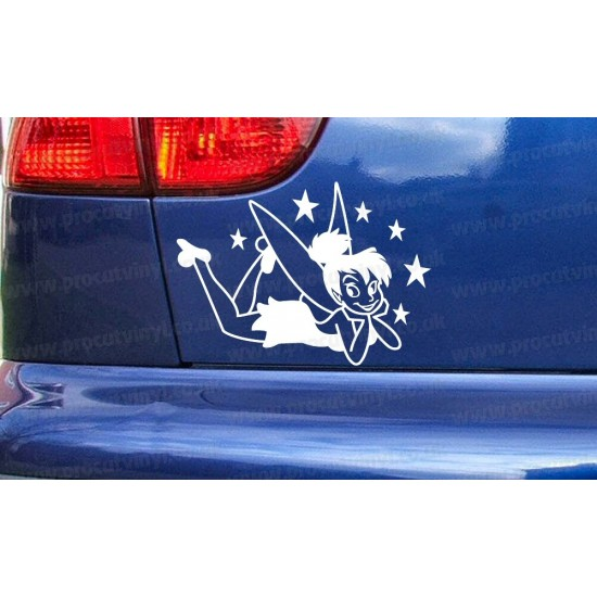Tinkerbell Fairy Lying Down with Stars Novelty Funny Car Bumper Window Sticker Decal
