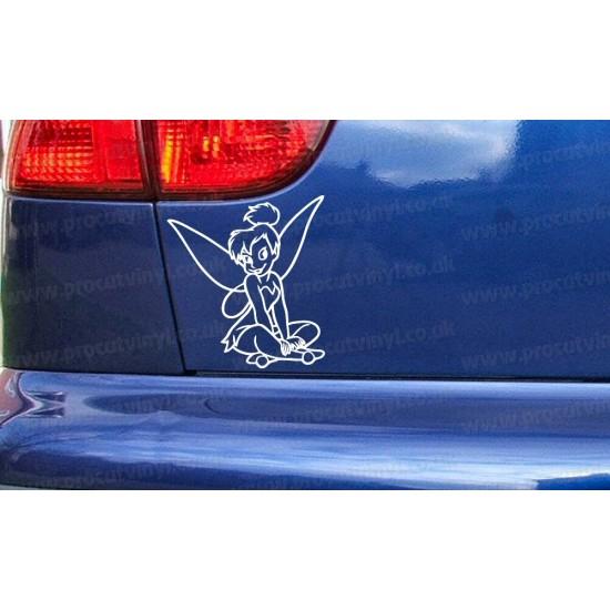 Tinkerbell Sitting Fairy Novelty Funny Car Bumper Window Sticker Decal