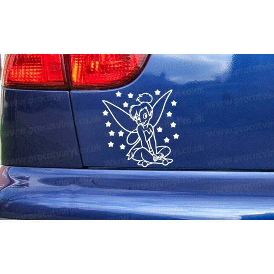 Tinkerbell Sitting with Stars Fairy Novelty Funny Car Bumper Window Sticker Decal