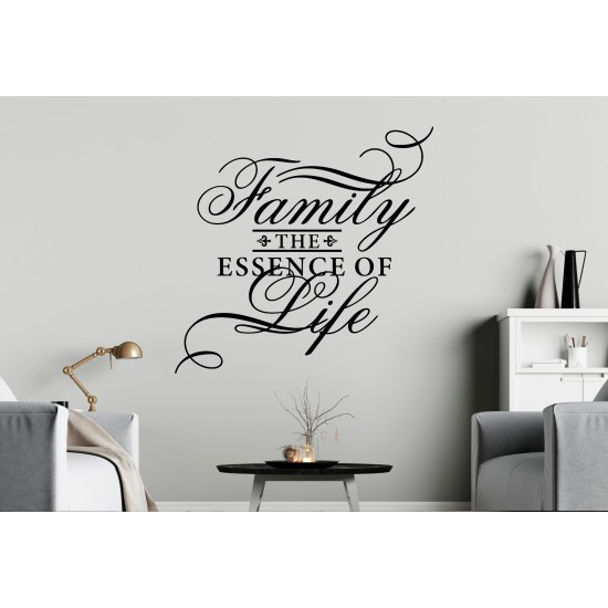 Family The Essence of Life Custom Sizes Small to Large Quotes Phrases Kitchen Living Room Lounge DIY Wall Art Home Decorative Decoration Decor Vinyl Die Cut Sticker Decal ref:010