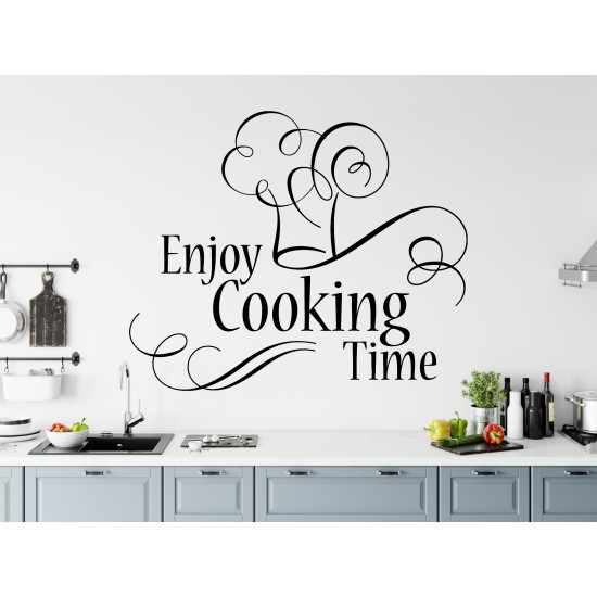 Enjoy Cooking Time Custom Sizes Small to Large Quotes Phrases Kitchen DIY Wall Art Home Decorative Decoration Decor Vinyl Die Cut Sticker Decal ref:017