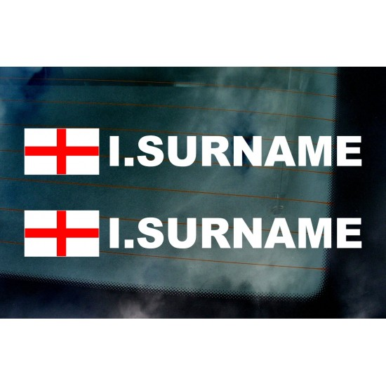 Rally Tag Surname Name Stickers Decals St George England Flags