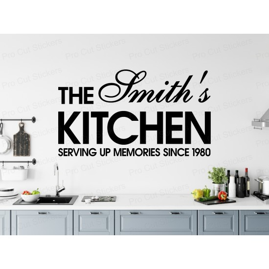Large Custom Personalised Kitchen Family Surname Name Wall Art Sticker Decal ref:2
