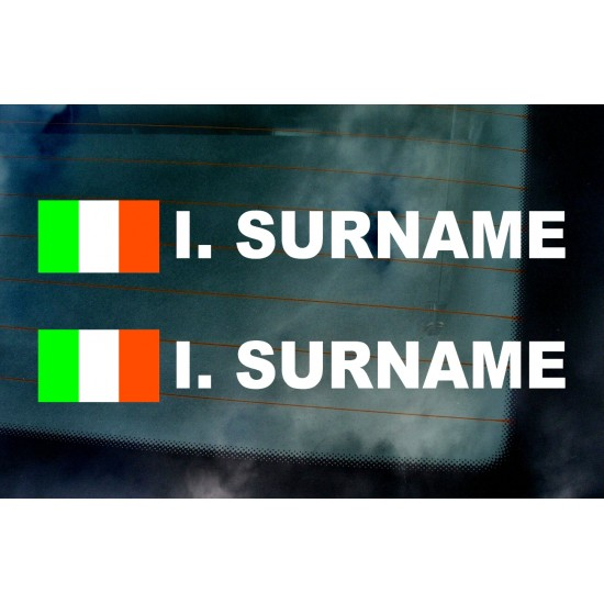 Rally Tag Surname Name Stickers Decals Republic of Ireland Flags