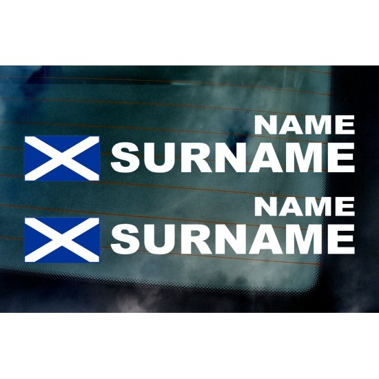 Rally Tag Surname Name Stickers Decals Scotland Flags