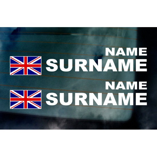 Rally Tag Surname Name Stickers Decals Union Jack Flags