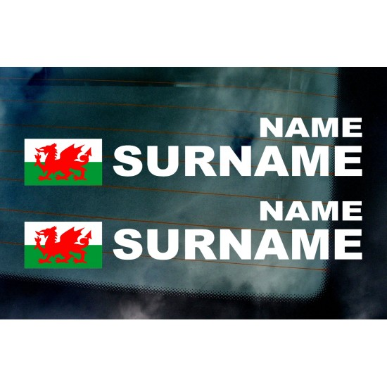 Rally Tag Surname Name Stickers Decals Welsh Wales Dragon Flag