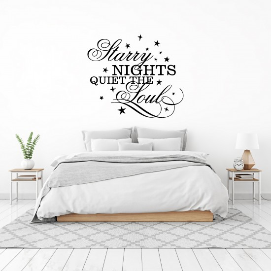Starry Nights Quiet The Soul Custom Sizes Small to Large Quotes Phrases Bedroom DIY Wall Art Home Decorative Decoration Decor Vinyl Die Cut Sticker Decal ref:001
